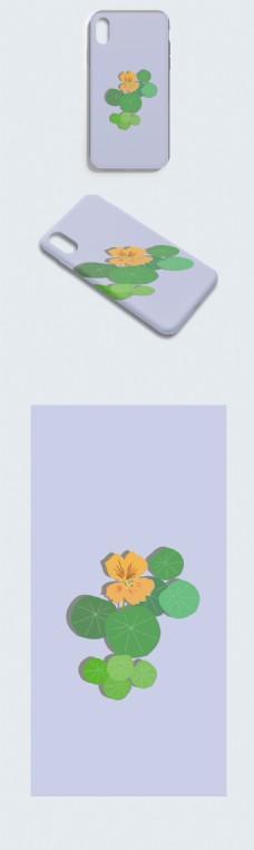 原创手绘旱金莲花手机壳