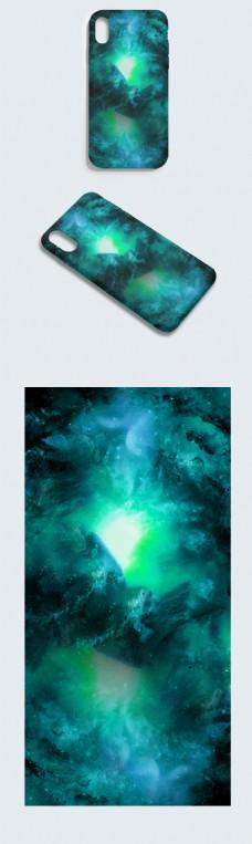 原创手绘唯美仙境绿色幻彩异次元科技手机壳