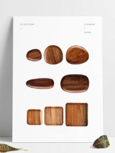 木器木盘俯视造型手工制作美食盘子