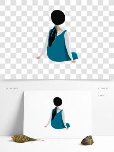 手绘水彩女孩PNG素材