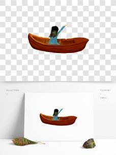 手绘船上的女孩子png元素