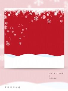 白色雪花的红色主图背景