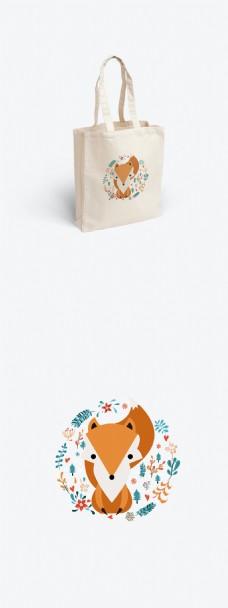 可爱狐狸插画帆布袋包装设计