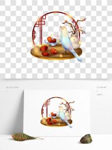 可商用霜降古风霜降红枣和鸟设计元素