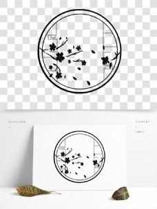 可商用手绘中国风窗户花边