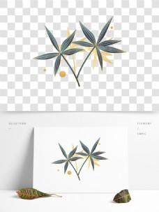 手绘植物清新竹叶中国风植物