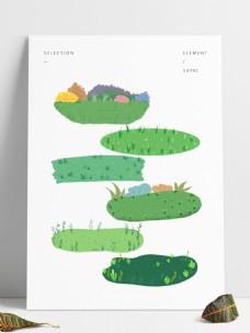 草坪元素草坪背景手绘草坪免抠图元素