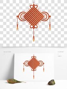 手绘红色中国结国风节日春节