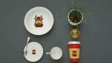 餐饮刀叉盘子logo样机