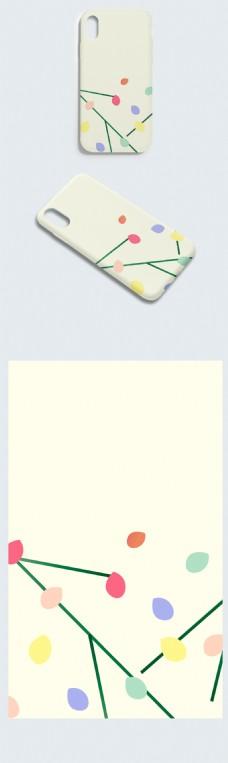 小清新可爱青色背景手机壳