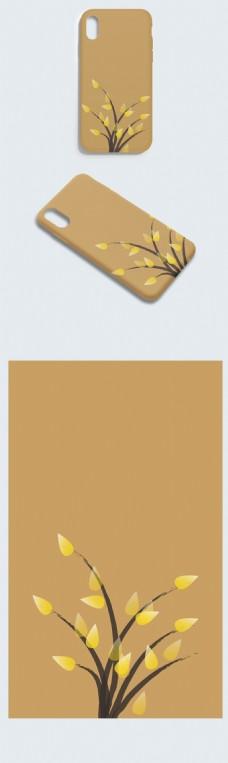 古风中国风棕色水墨黄花手机壳