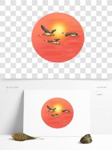 可商用寒露飞行的大雁手绘风