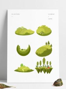 可商用卡通风手绘草坪草花结合套图模板