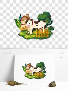 可商用卡通牧场牛设计元素