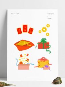 卡通手绘金币、金条、红包、礼盒套图元素