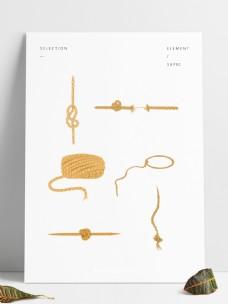 麻绳手绘麻绳元素
