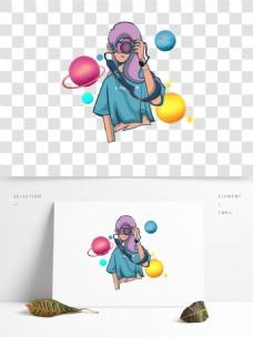 玻璃贴手绘插画元素拍照少女
