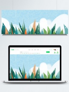 彩绘清新夏季植物背景设计