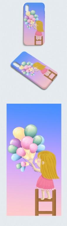 卡通气球可爱小女孩手机壳