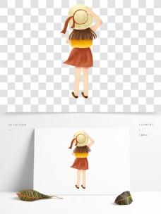 黄裙子的小女孩透明素材
