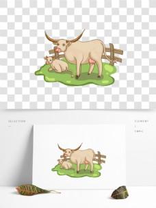 可商用高清手绘牧场卡通牛