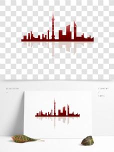 可商用手绘上海城市楼房创意剪影