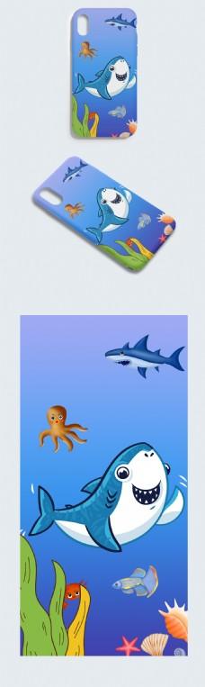 可爱卡通蓝色海洋鲨鱼手机壳