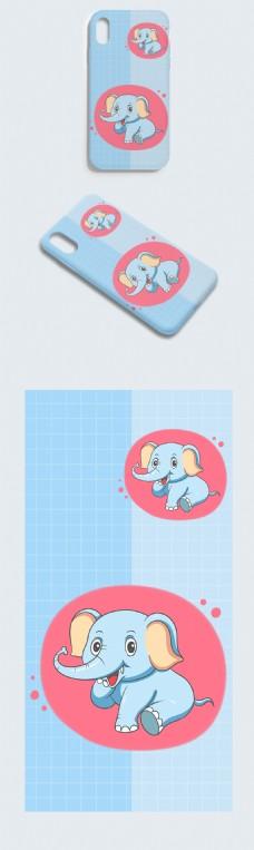 蓝色可爱卡通小象手机壳