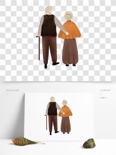 简约手绘爷爷奶奶透明素材