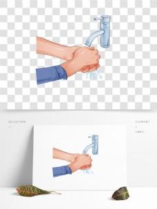 手绘卡通洗手手势png元素